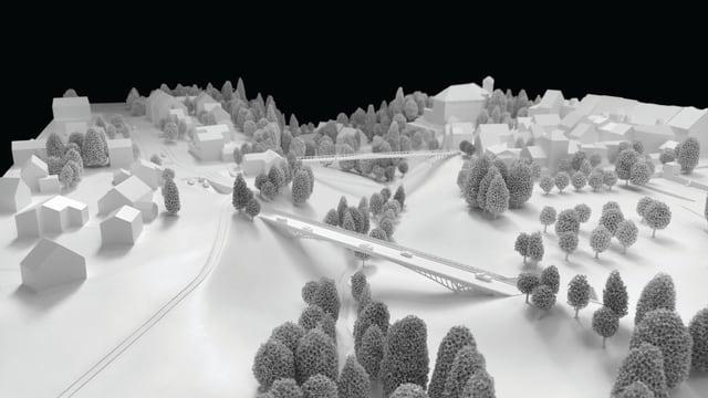 Aufnahme des Modells der Brücke aus der Vogelperspektive