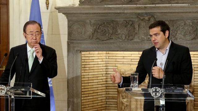 Ban Ki Moon ed Alexis Tsipras durant lur inscunter ad Athen