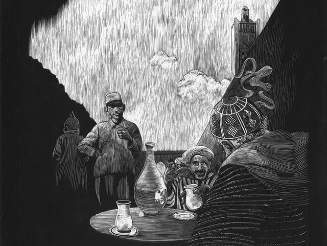 Zeichnung, Männer sitzen am Tisch und Rauchen