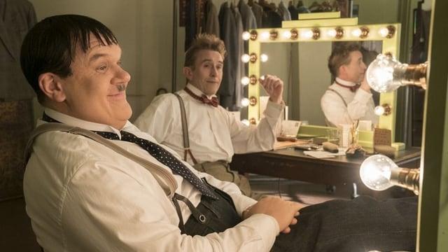 John C. Reilly und Steve Coogan als Oliver Hardy und Stan Laurel Backstage.