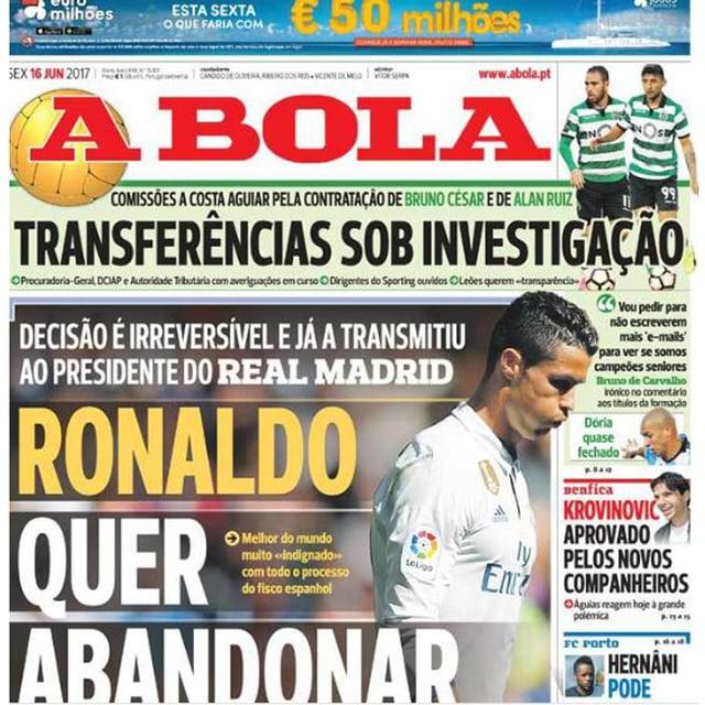 Die Titelseite von «A Bola».