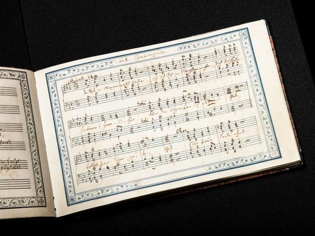 Ein kleines Büchlein mit handgeschriebenen Noten drin.