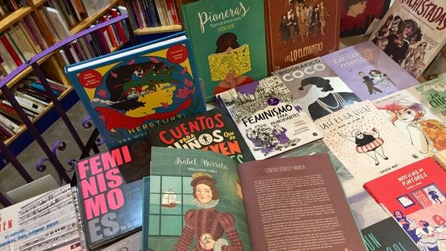 Neben den Klassikern der feministischen Literatur stehen auch Kinderbücher in den Regalen.