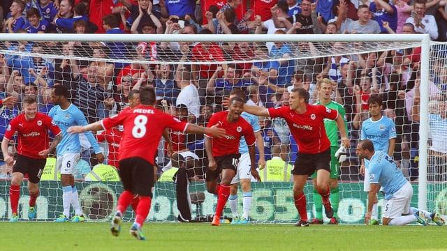 Cardiff freut sich über den Sieg gegen Favorit Manchester City