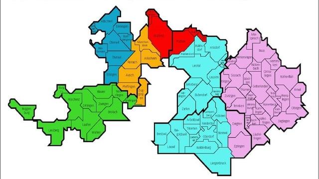 Kantonskarte, aufgeteilt in sechs Regionen, dargestellt mit verschiedenen Farben.