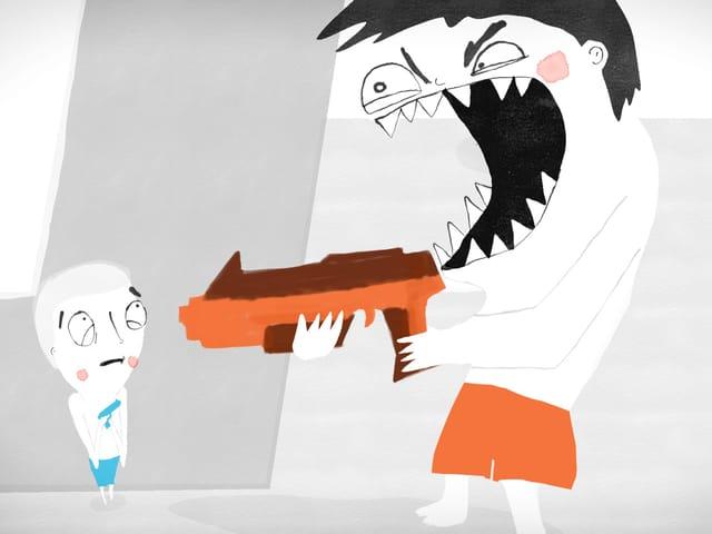 Ausschnitt aus einem Animationsfilm mit zwei Männchen, eines gross mit Waffe, eines klein.