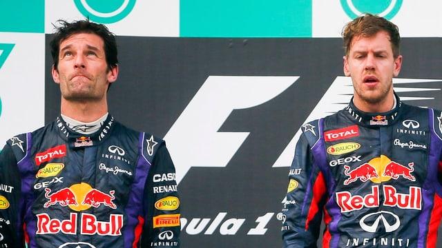 Gedrückte Stimmung zwischen den Teamkollegen Webber (l.) und Vettel.