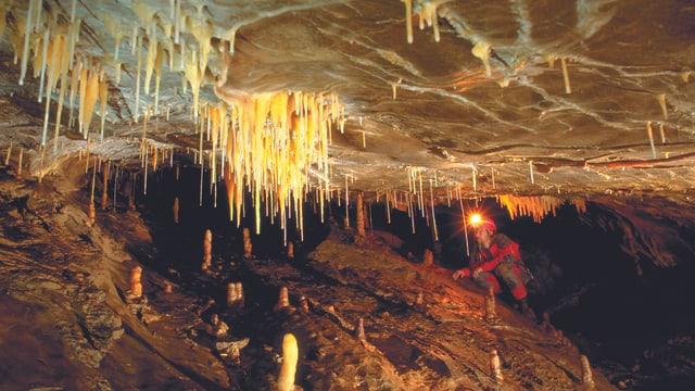 Ein Höhlenforscher erkundet eine Höhle mit Stalaktiten.