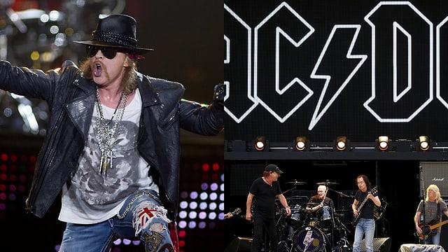 Splitscreen: Axl Rose (links), AC/DC auf der Bühne (links)