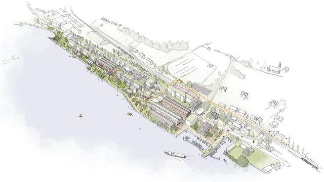 Eine Skizze, wie das ehemalige Industrieareal in Uetikon am See künftig überbaut und genutzt werden soll.