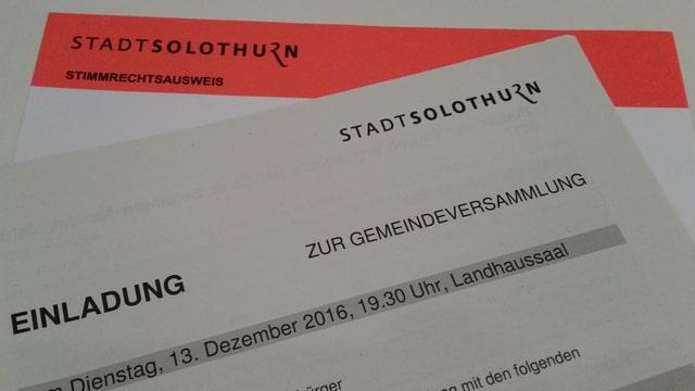 Stimmkarte und Einladung zur Solothurner Gemeindeversammlung.