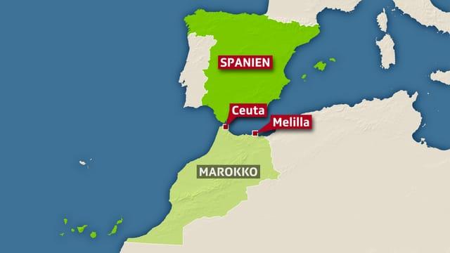 Eine Landkarte bildet die Länder Spanien und Marokko ab, dazwischen liegen die betroffenen Enklaven Ceuta und Melila.