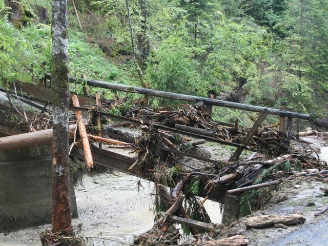 Eine Brücke voll mit Schwemmholz.