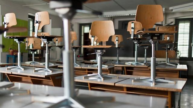 Schulzimmer mit den Stühlen auf dem Tisch