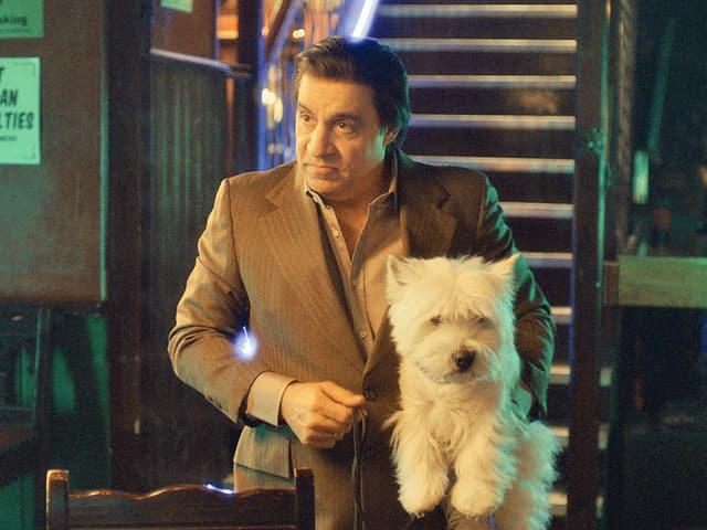 Mann in Anzug mit kleinem weissen Hund auf dem Arm.