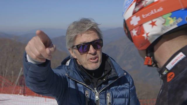 Pistenbauer Bernhard Russi und Skifahrer Didier Défago in Jeongseon, Südkorea. Hauptprobe für die Olympiaabfahrt 2018.