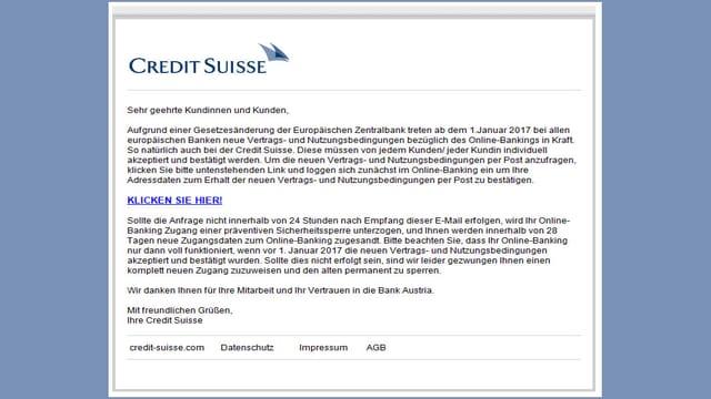 Mail mit Absender Credit Suisse