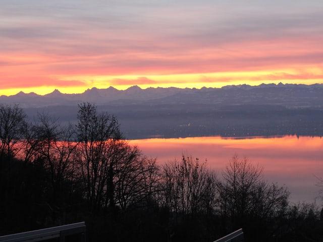 Das Morgenrot spiegelt sich im See-.