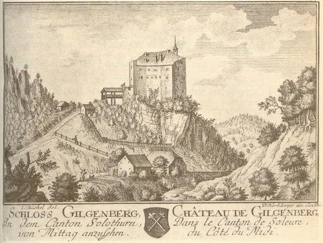 Altes Bild der Burg. Sie hat noch ein Dach.