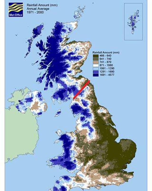 Karte mit kimmulierten Regenfällen über Grossbritannien