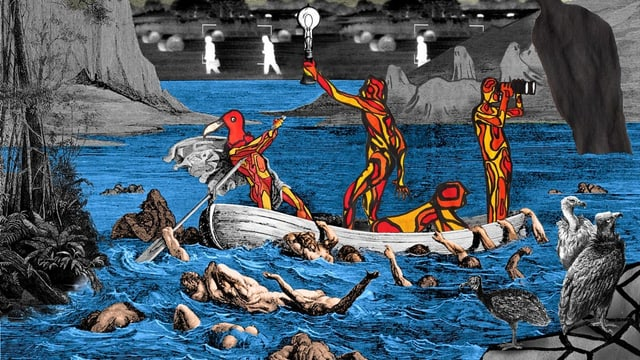 Collage: Gezeichnete Fantasie-Wesen auf einem Boot.