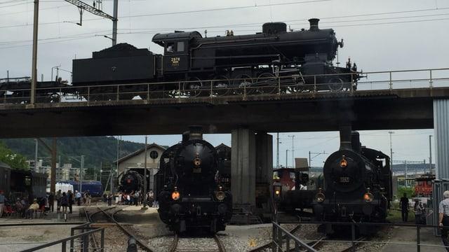 Drei Dampflokomotiven