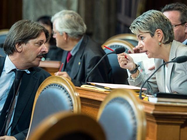 Paul Rechsteiner (SP) und Karin Keller-Sutter (FDP)