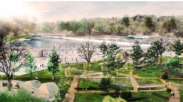 Eine Visualisierung zeigt den Surfpark in Regensdorf