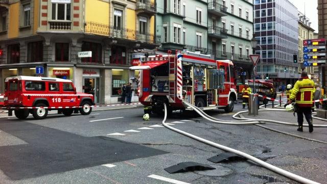 Einsatz der Feuerwehr in der Stadt Luzern.