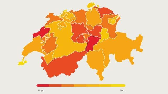 Schweizerkarte mit Bewegung nach Farben gekennzeichnet.