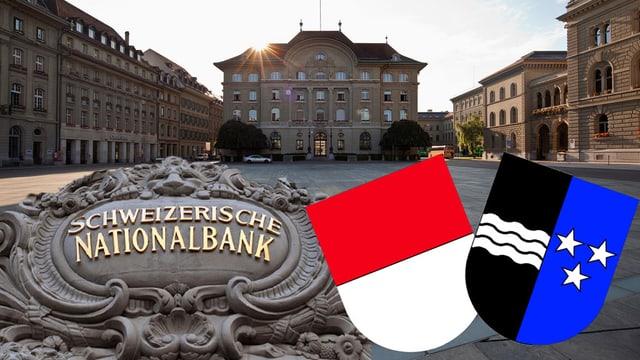 Nationalbank und Kantonswappen