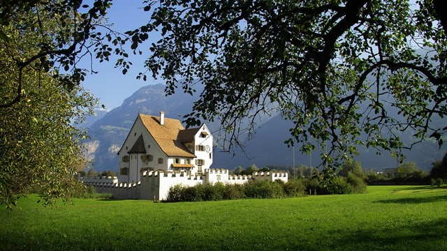 Schloss am See mit Bergen im Hintergrund.