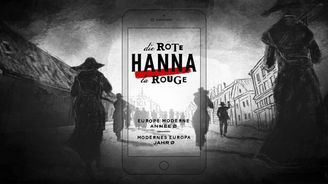 """Gezeichnete schwarze Silhouetten auf einer Strasse, in der mitte steht geschrieben """"Die rote Hanna""""."""