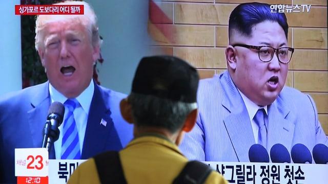 Fotomontscha da Donald Trump e Kim Jong Un .