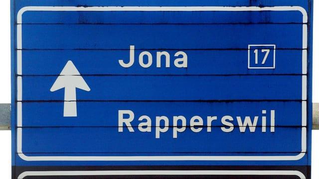 Tafel mit der Aufschrift Jona und Rapperswil