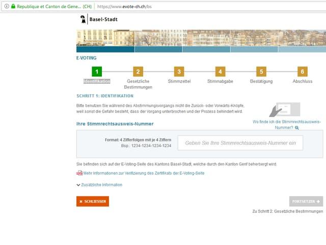 Der Screenshot zeigt die Original-Plattform des Kantons Genf, wie sie der Kanton Basel-Stadt für die aktuellen Abstimmungen verwendet.