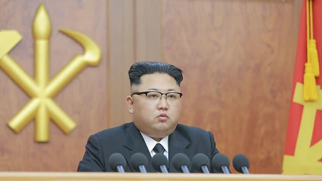 Nordkoreas Machthaber Kim Jong Un bei seiner Neujahrsansprache.