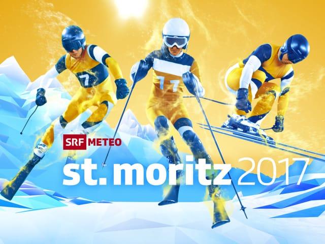 Logo der Ski-WM von SRF Meteo: Drei gezeichnete Skirennfahrer in Aktion