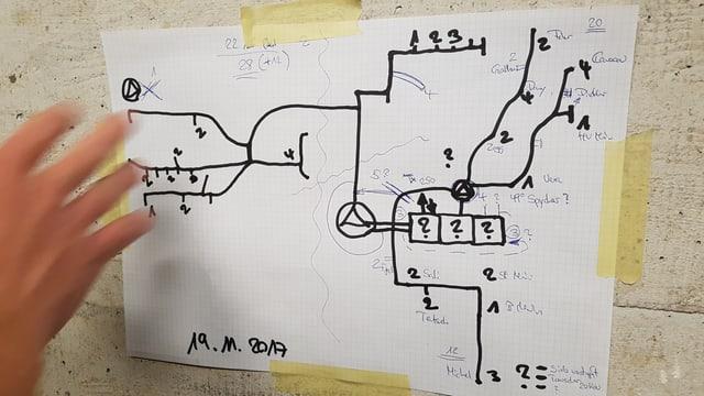 A4-Blatt mit einer von Hand gezeichneten Karte des Ligerzer Glasfasernetzes.