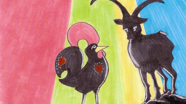 Sujet dal placat: il gallo sco simbol per il Portugal ed il capricorn, sco simbol per il Grischun