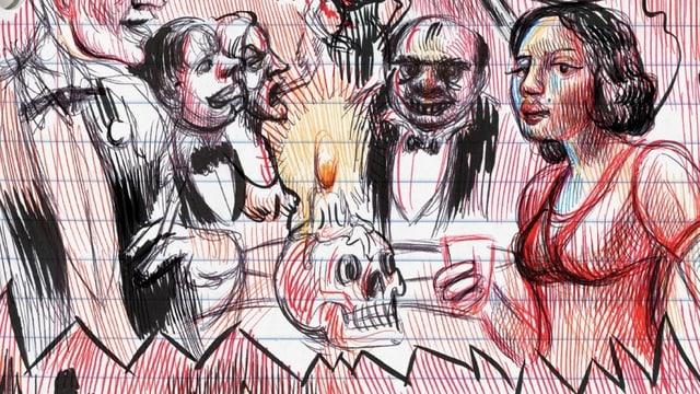 Comic-Ausschnitt: Eine Frau im Abendkleid, in der Mitte ein Schädel, daneben Männer in Anzügen.