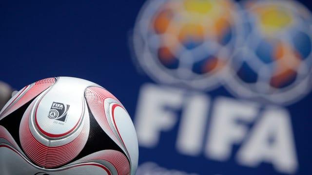 Ina balla, en il fund il logo da la FIFA.