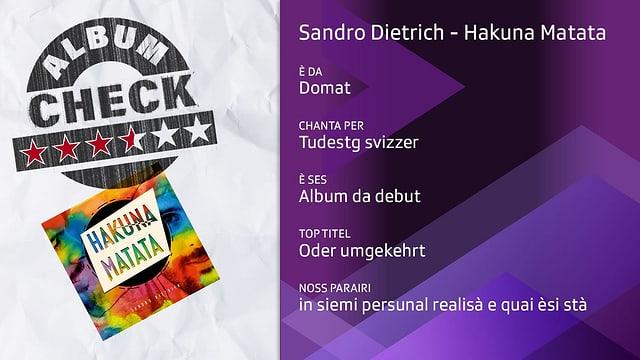 Albumcheck dad «Hakuna Matata»: il parairi da Danilo Bavier