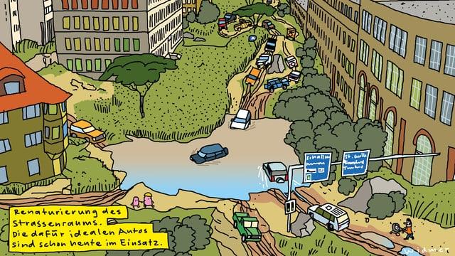 Zeichnung einer Strassenkreuzung mit Wasserpfütze, durch die Autos fahren