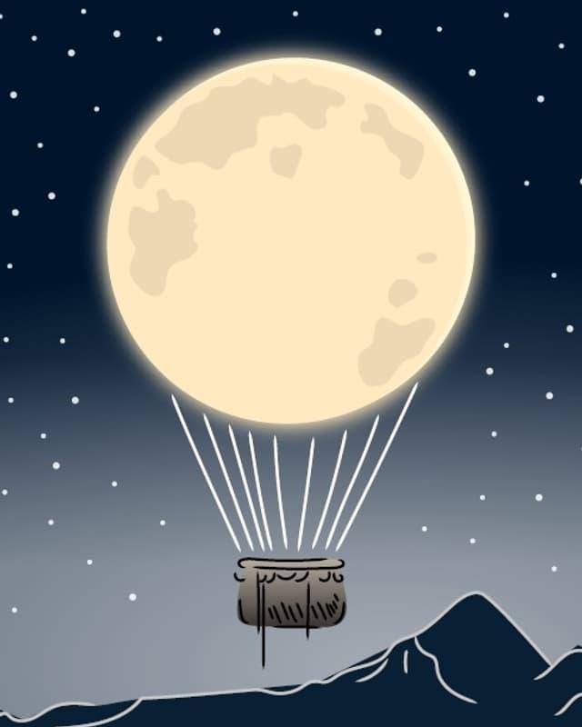 Mond als Ballon.