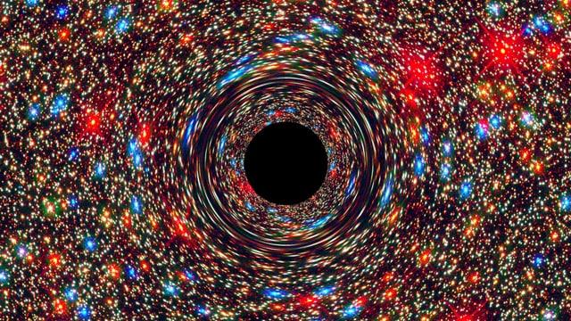 Illustration: Farbige Punkte um ein schwarzes Loch