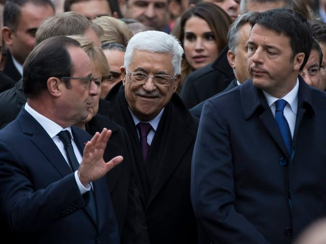 François Hollande (linke Seite), Machmud Abbas (Mitte), Matteo Renzi