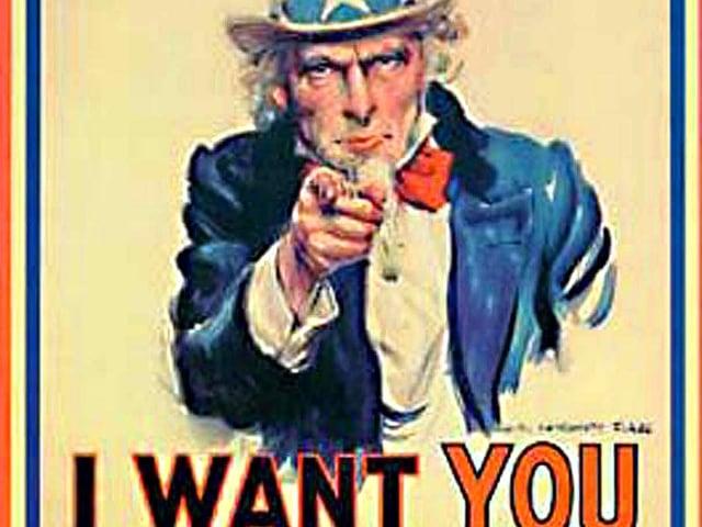 Kriegs-Werbeplakat mit Uncle Sam.