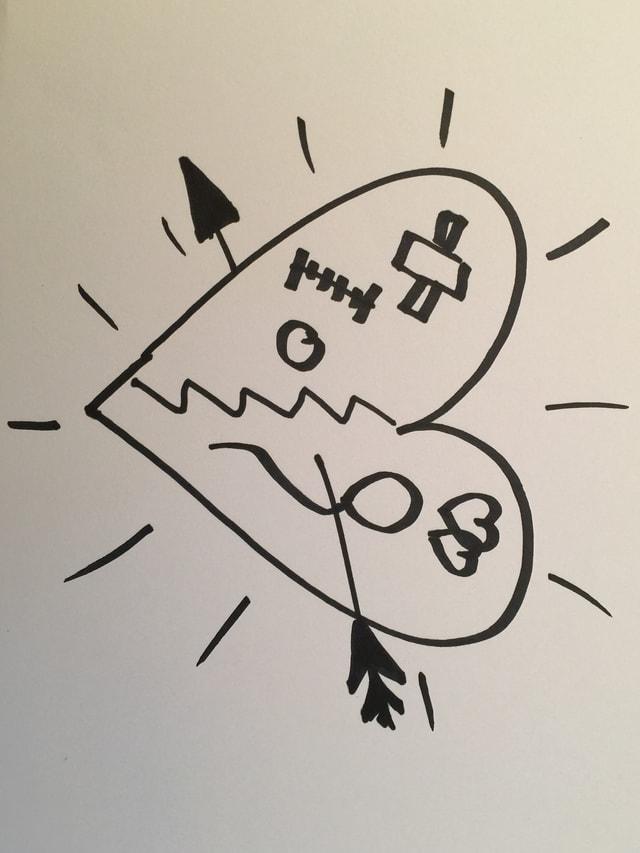 Skizze mit Herz. Im Herz zu sehen Pflaster, Narbe, Loch und Liebespfeil