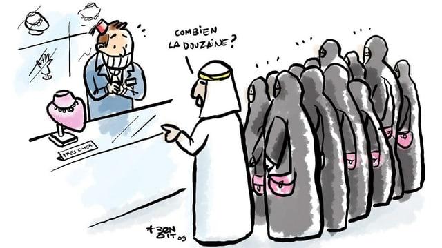 Eine gezeichnete Karikatur.